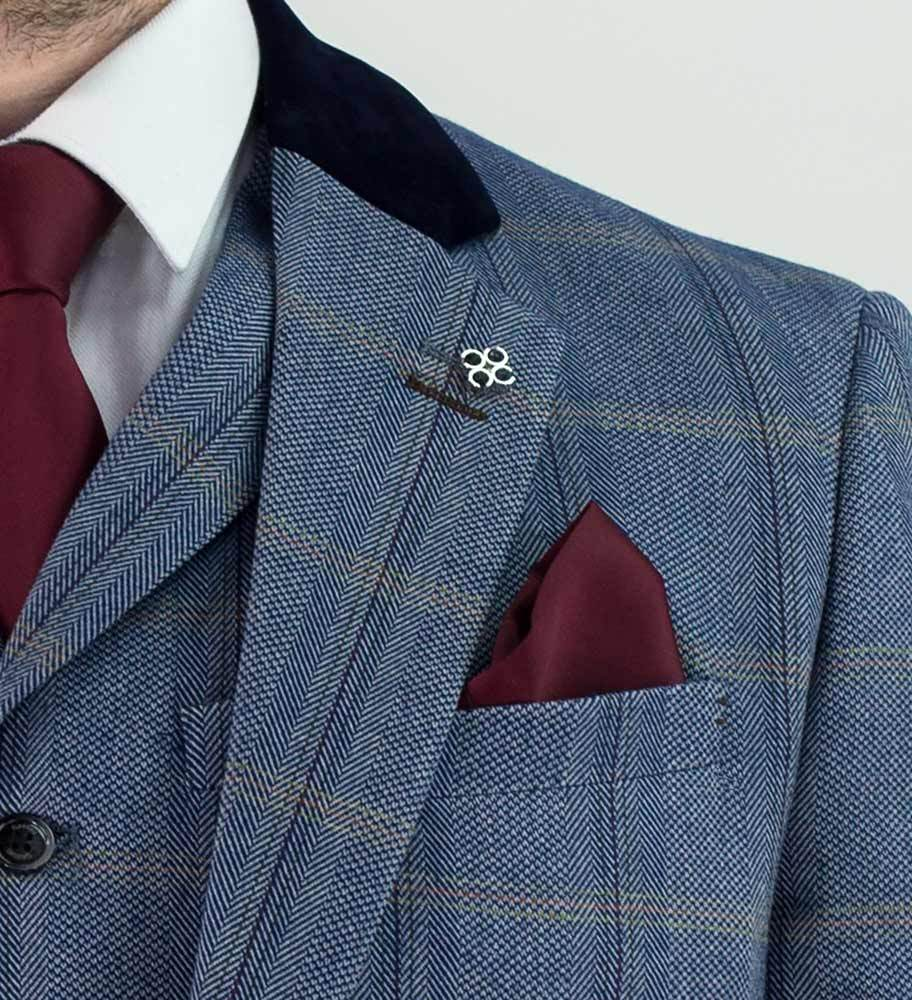 Cavani Connall Blue Tweed Three Piece suit