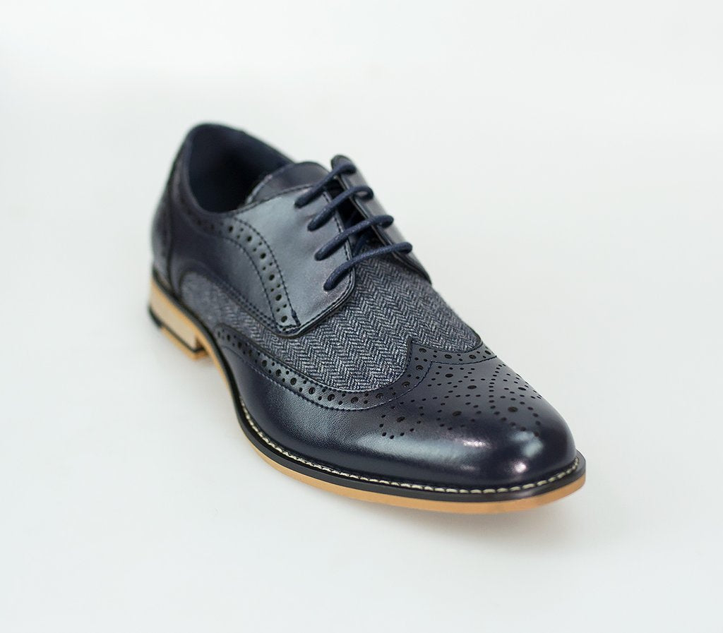 Cavani Horatio Navy tweed brogue shoes