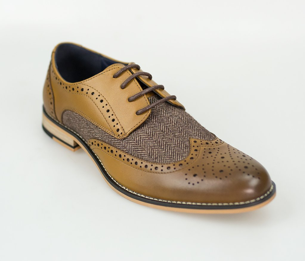 Cavani Horatio Tan Tweed Brogue shoes