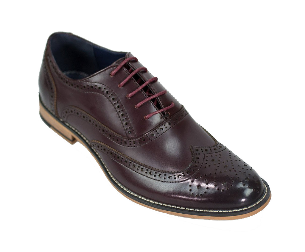 Cavani Oxford wine brogue shoes
