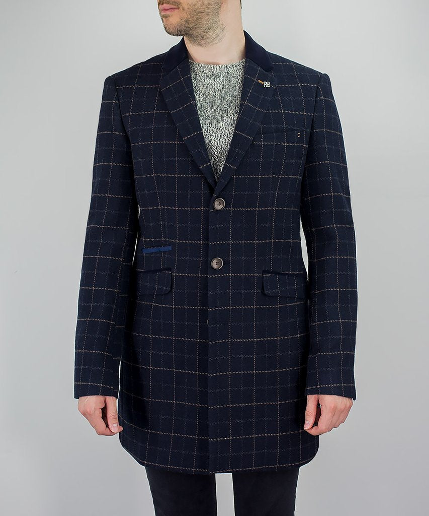Cavani Shelby Navy Check Tweed Overcoat