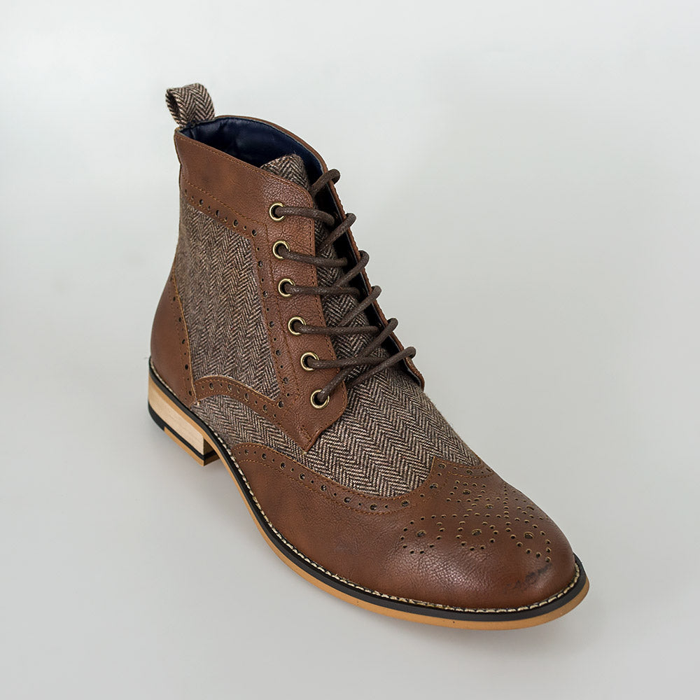 Cavani Sherlock brown tweed and leather boots