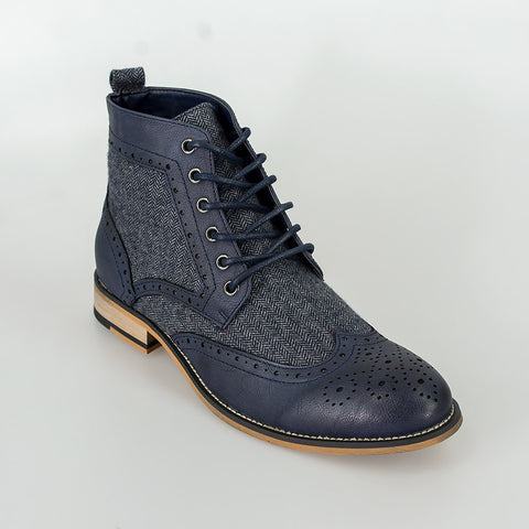 Cavani Sherlock Navy tweed and leather boots