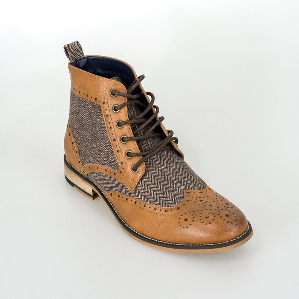 Cavani Sherlock Tan tweed and leather boots