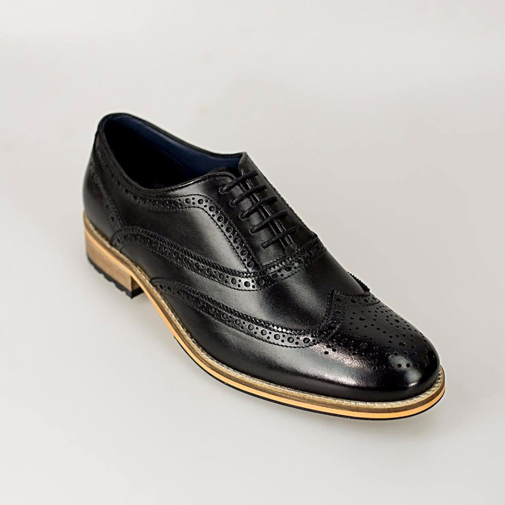 Cavani Lake Black Brogue Shoes