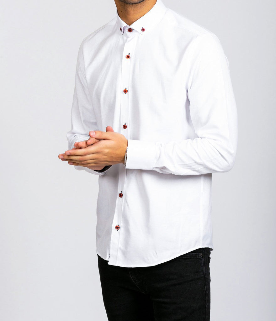 Marc Darcy Charlie White Button down Collar Shirt With Wine Buttons