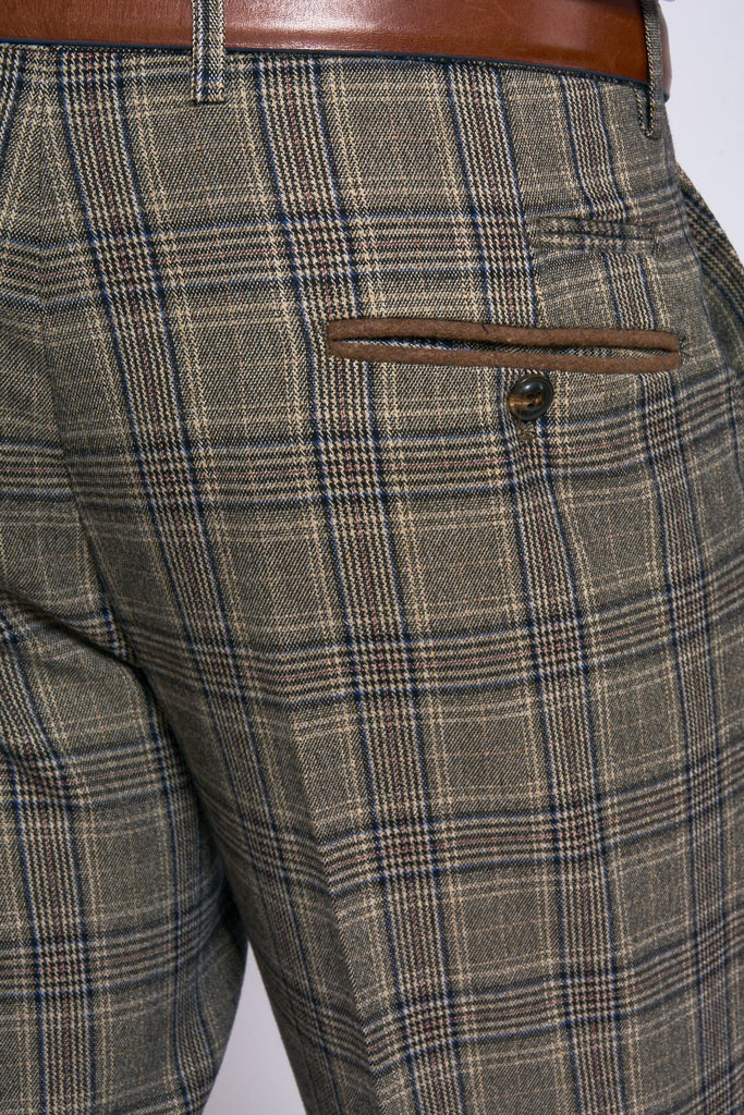 Marc Darcy Enzo Tan Checked Trousers