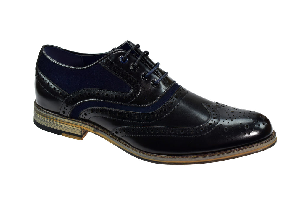 Cavani Ethan Black and Navy Brogue Shoes