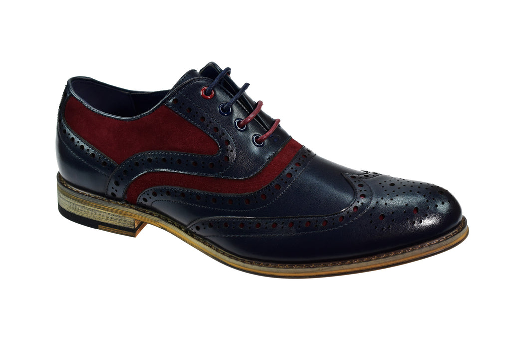 Cavani navy and red Brogue Shoes