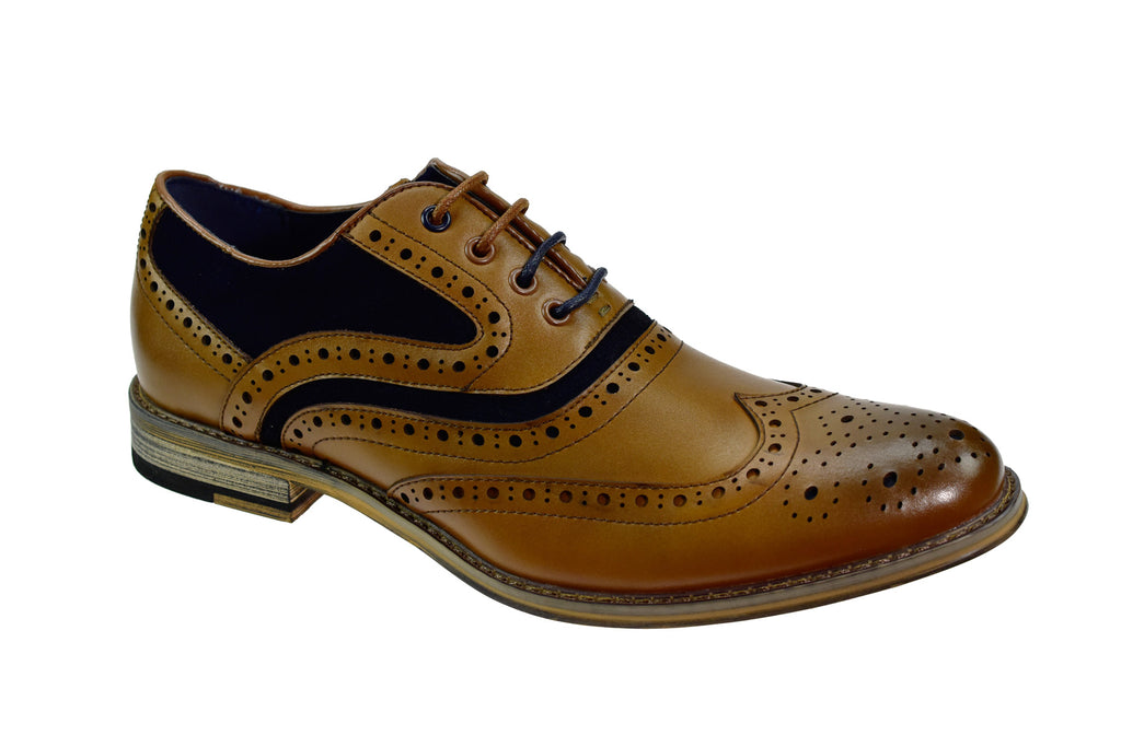 Cavani Ethan Tan Navy Brogue Shoes