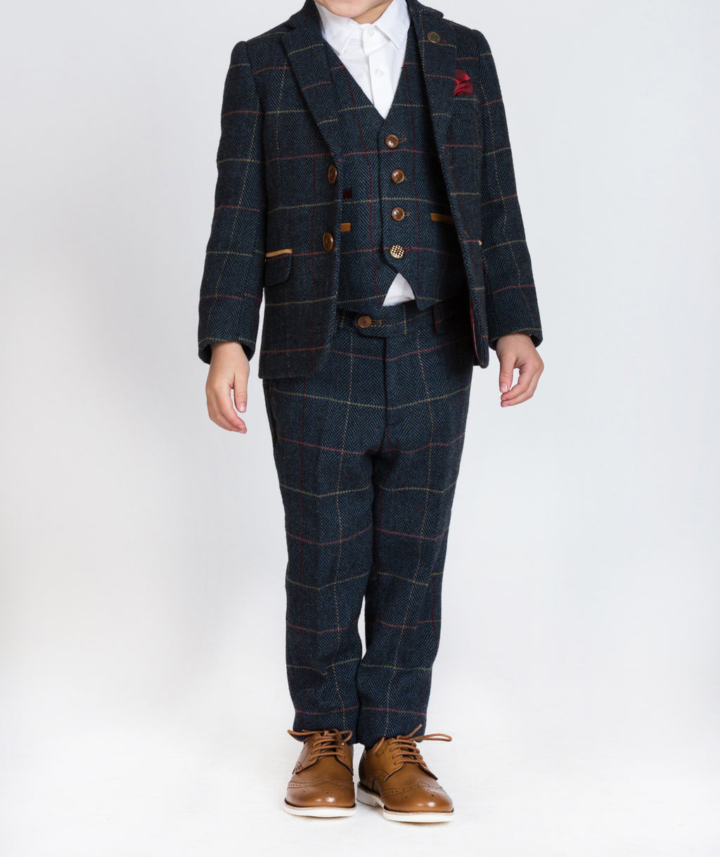 Marc Darcy Eton Blue Tweed Check Children's Three Piece