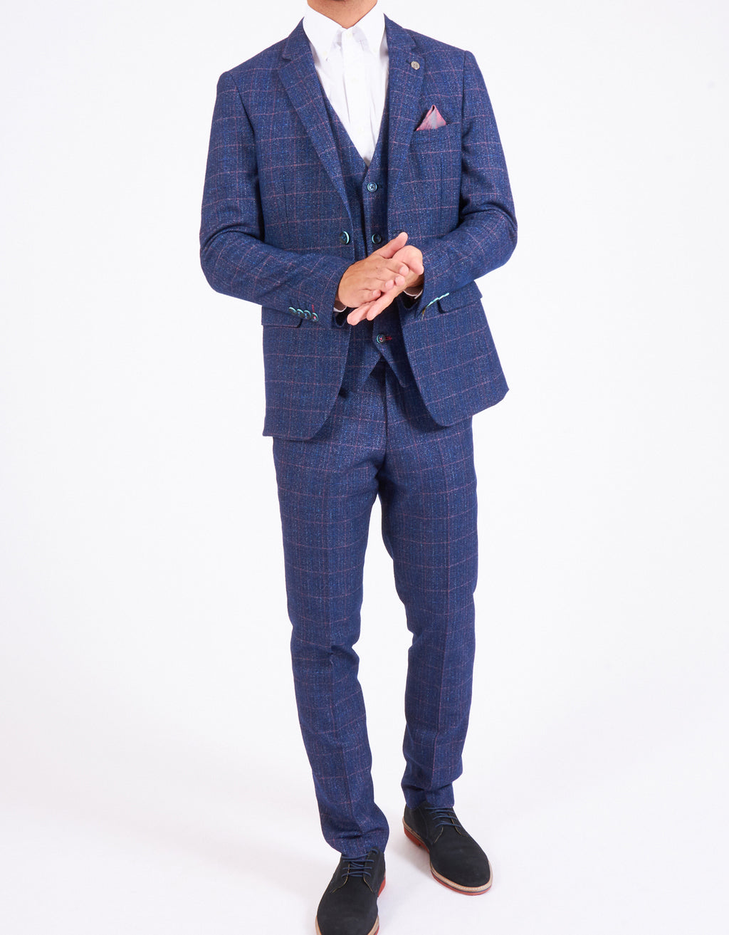 Marc Darcy Harry Indigo Checked Tweed Three Piece Suit