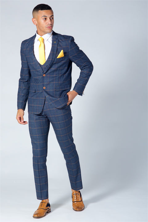 Marc Darcy Jenson Navy Check Three Piece Suit