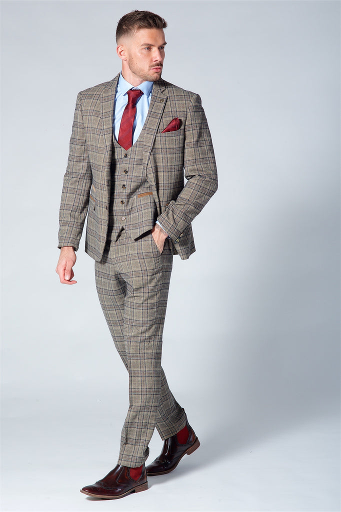 Marc Darcy Enzo Tan Check Three Piece Suit