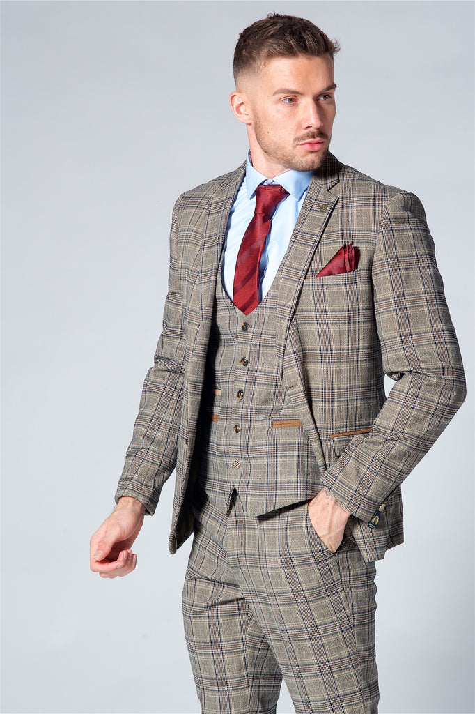 Marc Darcy Enzo Tan checked Blazer