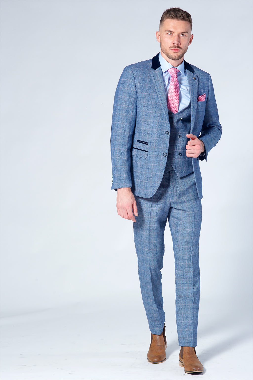 Marc Darcy Hilton Blue Checked Tweed Three Piece Suit