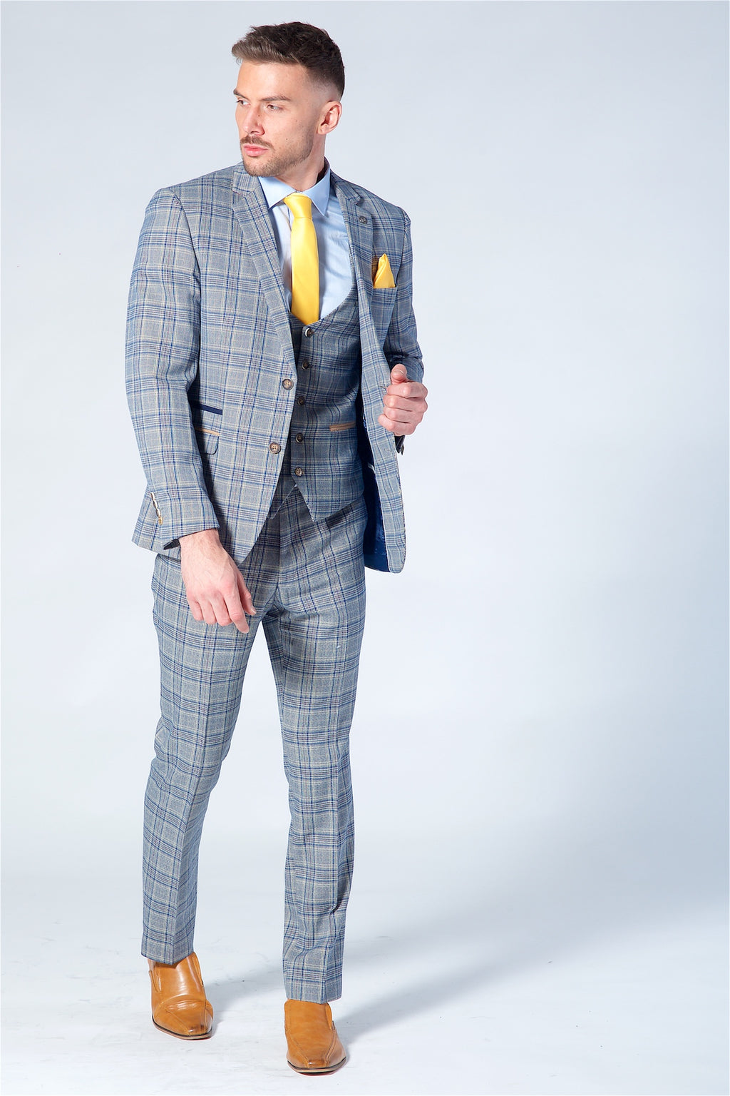 Marc Darcy Enzo Blue Stone Check Three Piece Suit