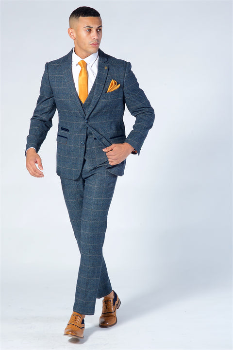 Marc Darcy Scott Blue Checked Tweed Three Piece Suit