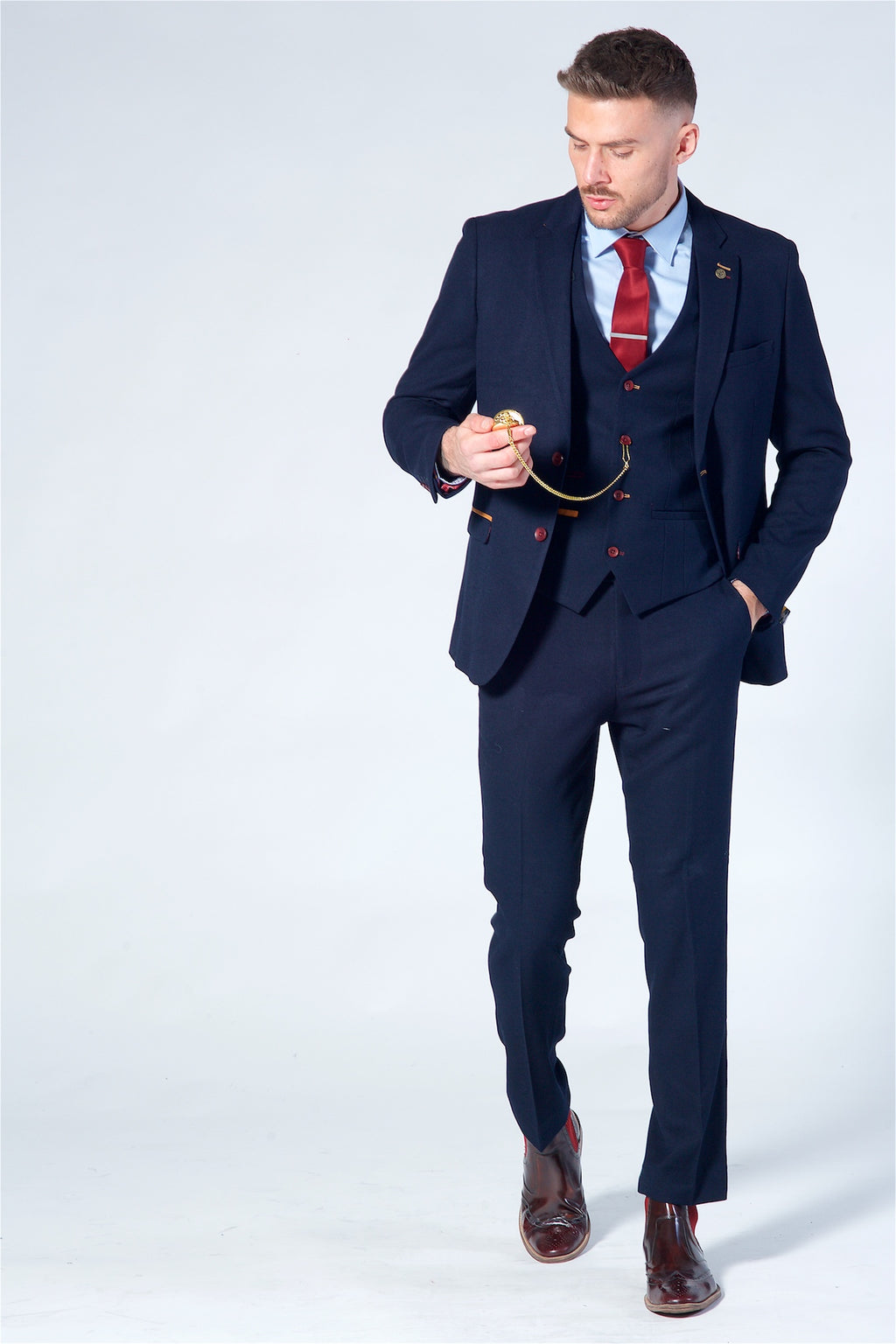Marc Darcy JD4 Navy Three Piece Suit