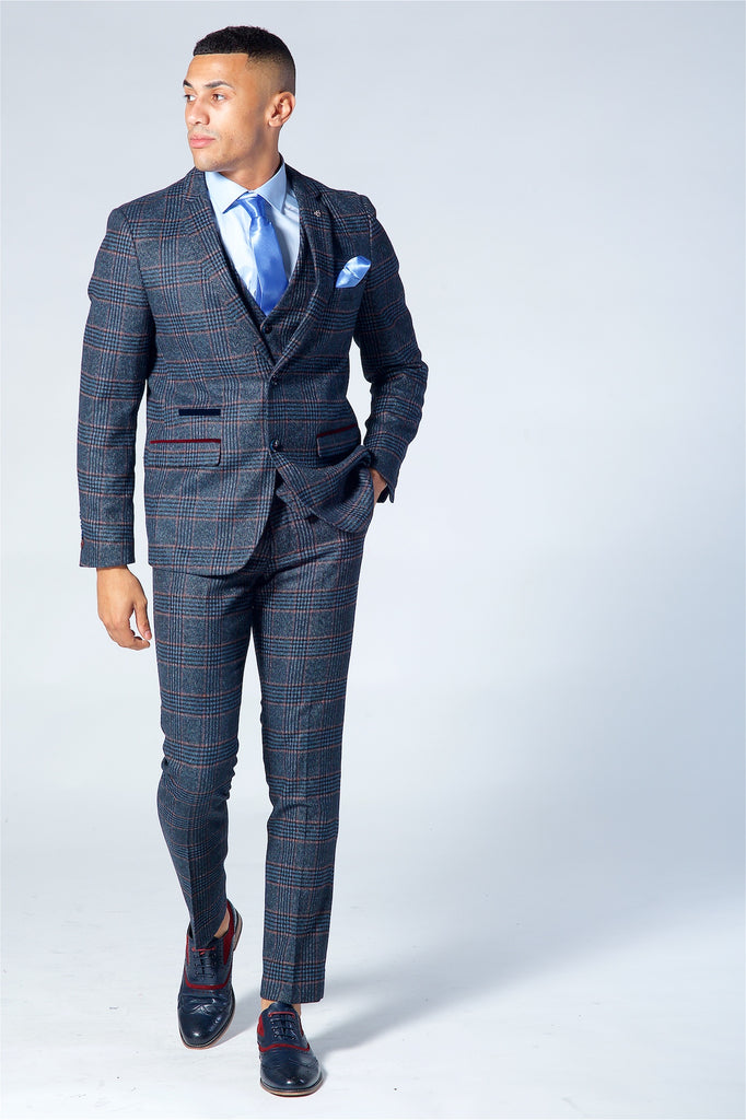 Marc Darcy Luca Navy Check Tweed Three Piece Suit