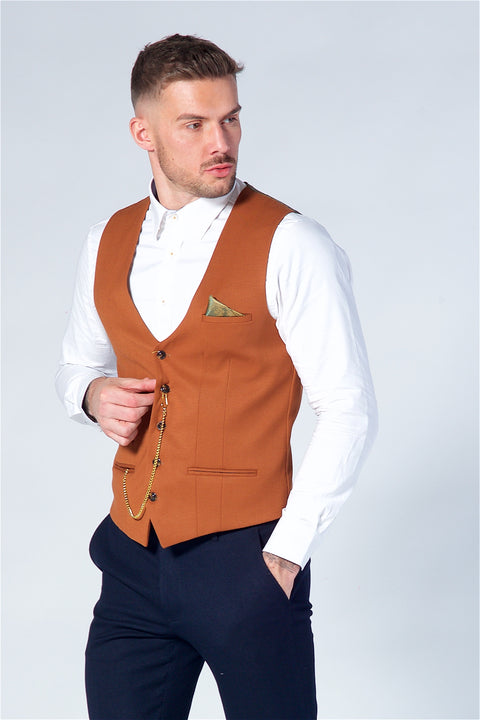 Marc Darcy Kelly Dark Tan Single Breasted Waistcoat
