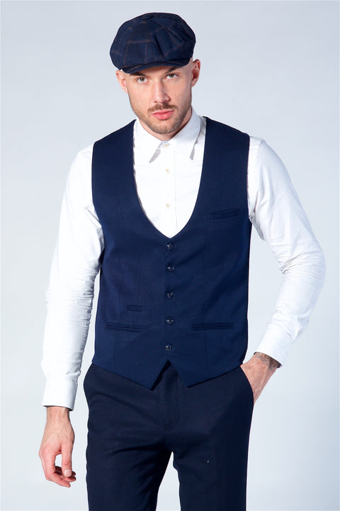 Marc Darcy Kelly Blue Single Breasted Waistcoat