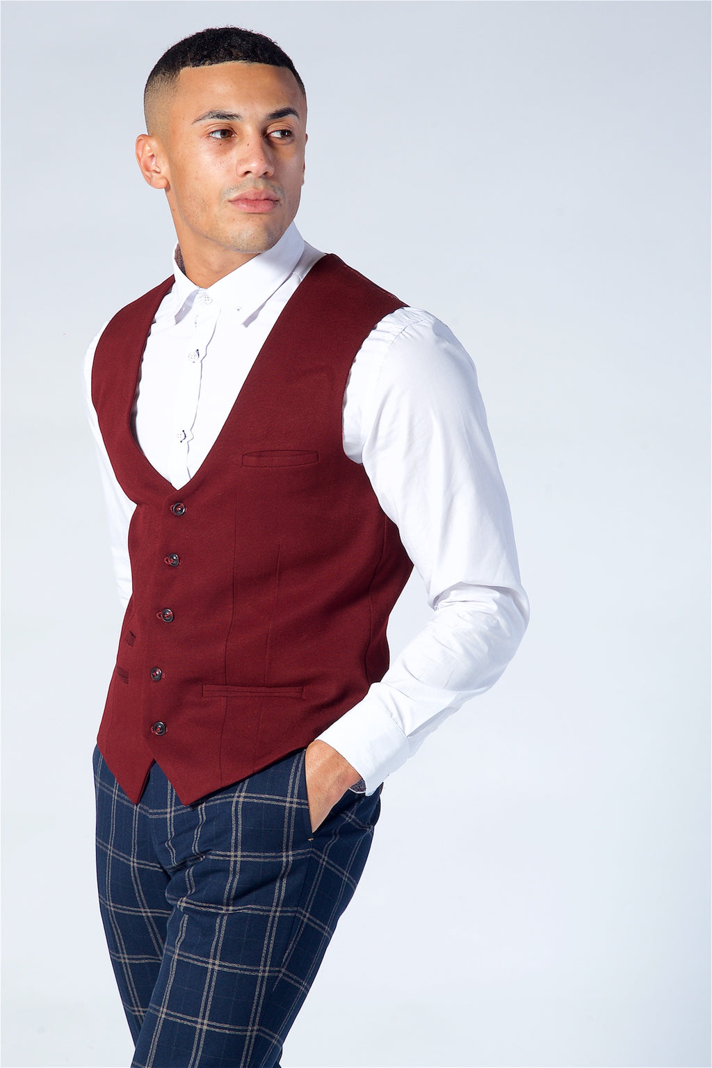 Marc Darcy Kelly Wine Single Breasted Waistcoat