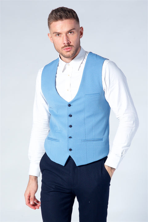 Marc Darcy Kelly Sky Blue Single Breasted Waistcoat