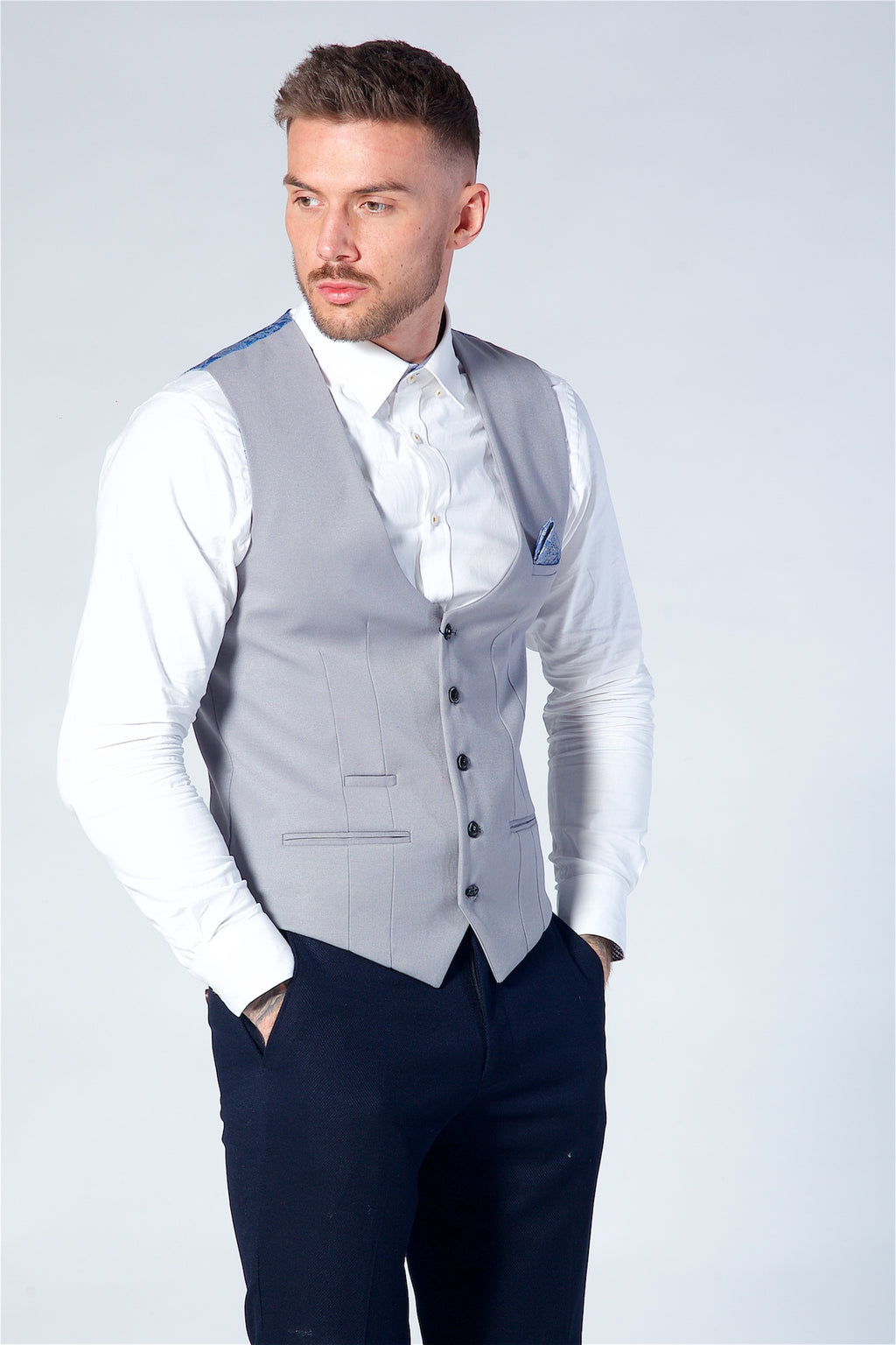 Marc Darcy Kelly Silver Single Breasted Waistcoat