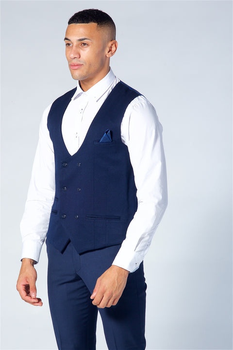 Marc Darcy Kelly Navy Double Breasted Waistcoat