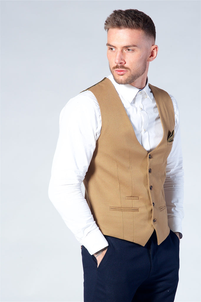 Marc Darcy Kelly Tan Single Breasted Waistcoat