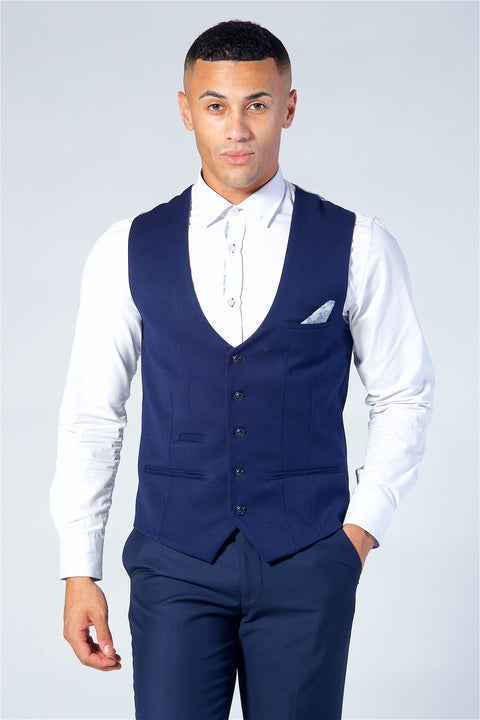 Marc Darcy Kelly Royal Blue Single Breasted Waistcoat