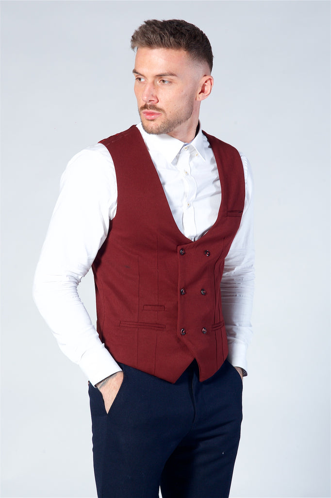 Marc Darcy Kelly Wine Double Breasted Waistcoat
