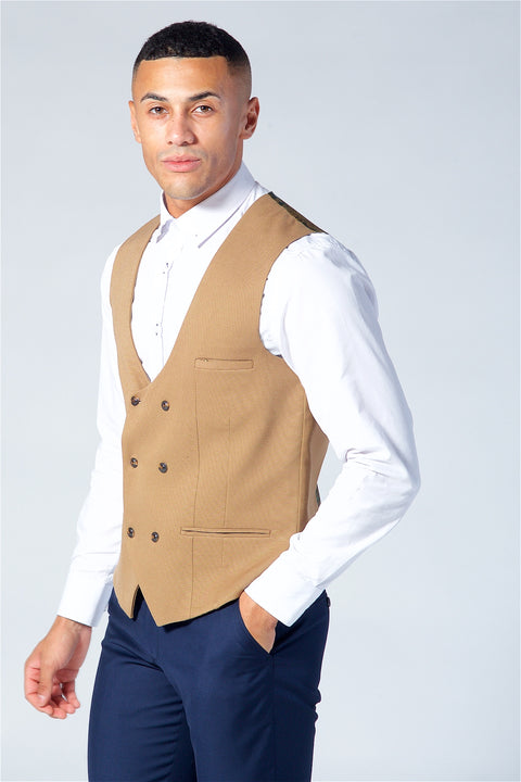 Marc Darcy Kelly Tan Double Breasted Waistcoat