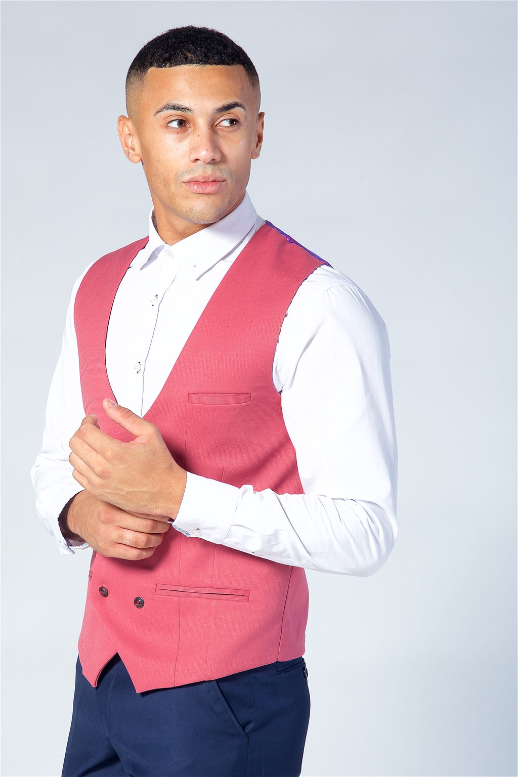 Marc Darcy Kelly Pink Double Breasted Waistcoat