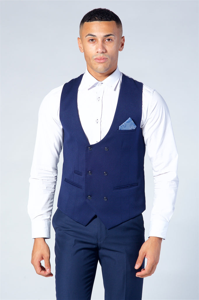 Marc Darcy Kelly Royal Blue Double Breasted Waistcoat