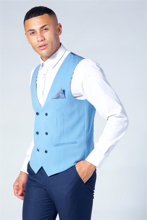 Marc Darcy Kelly Sky Blue Double Breasted Waistcoat
