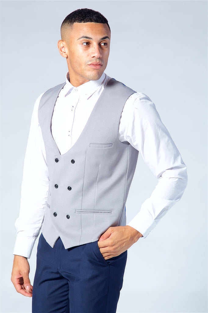 Marc Darcy Kelly Silver Double Breasted Waistcoat