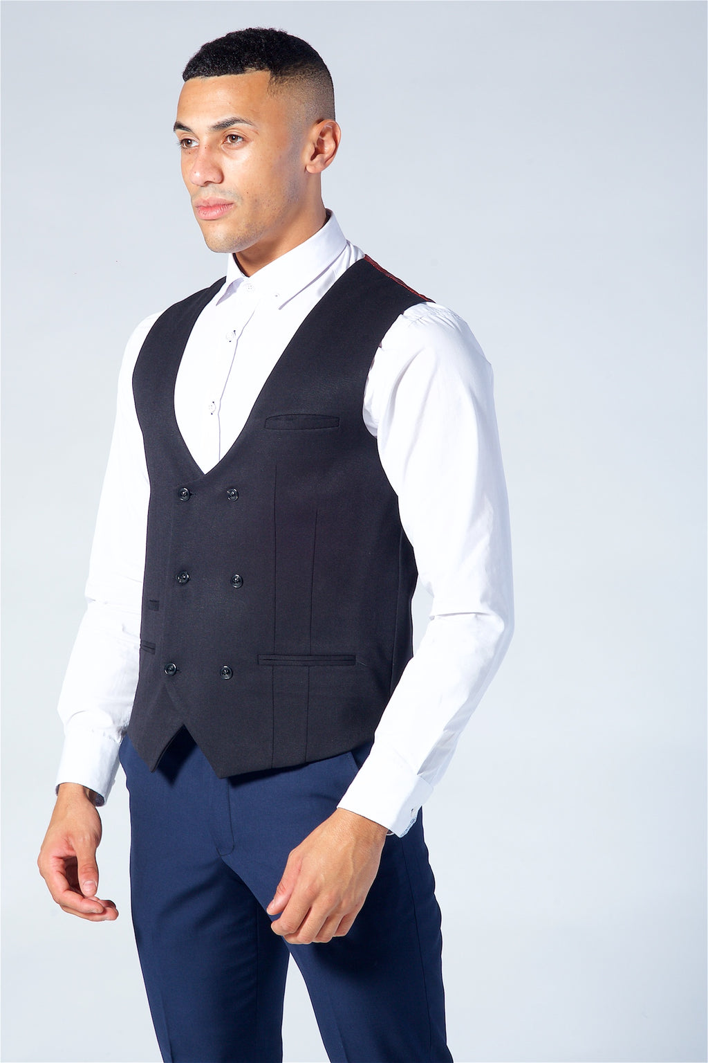 Marc Darcy Kelly Black Double Breasted Waistcoat