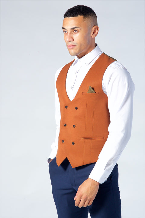 Marc Darcy Kelly Dark Tan Double Breasted Waistcoat