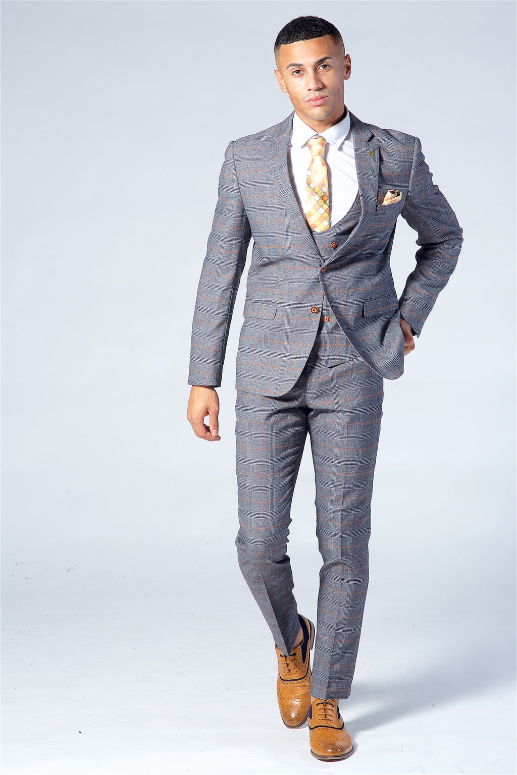 Marc Darcy Jenson Grey Check Suit Three Piece Suit.