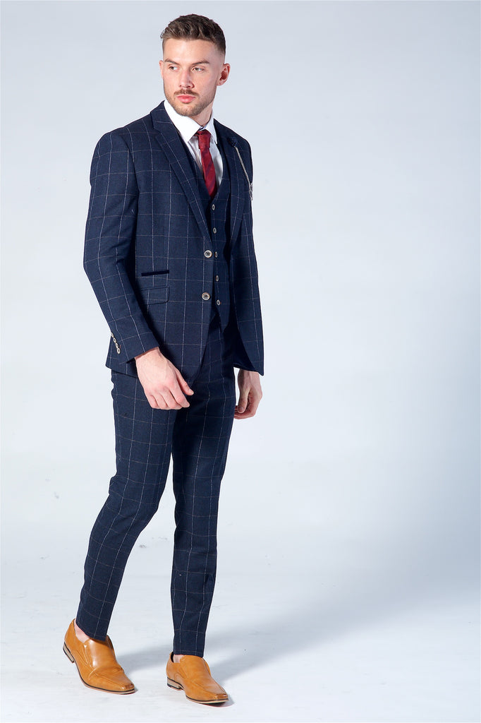 Cavani Angel Navy Check Three Piece Suit
