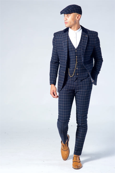 Cavani Shelby Navy Check Tweed Three Piece Suit