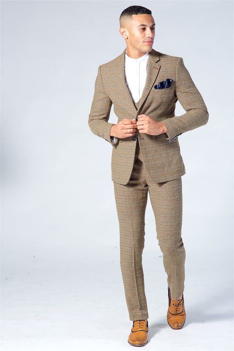Cavani Ascari Brown Tweed 3 Piece Suit