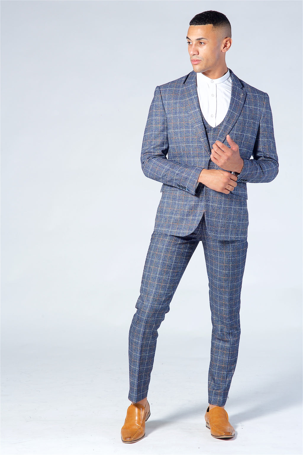 Cavani Bonita Blue Grey Three Piece Suit