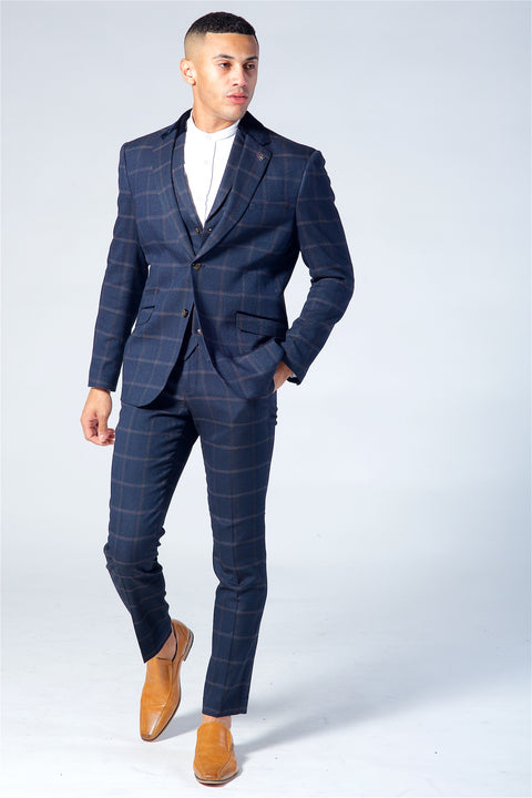 Cavani Connall Navy Tweed Three Piece Suit