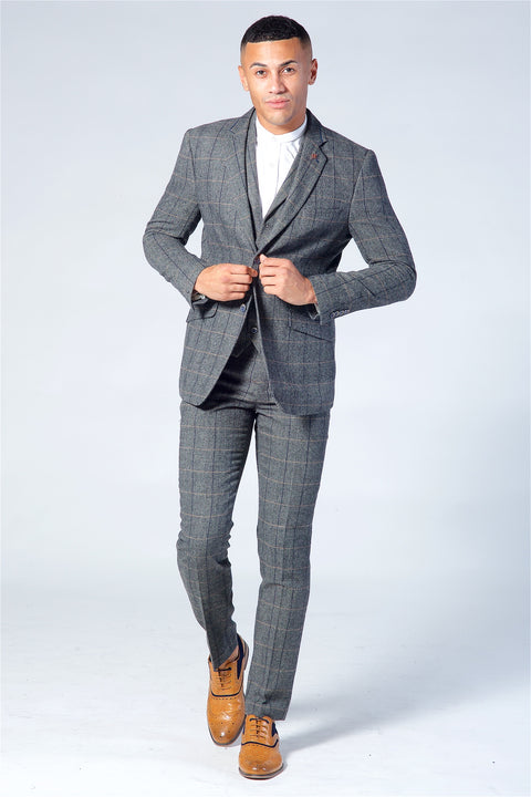 Cavani Albert Grey Tweed Three Piece Suit