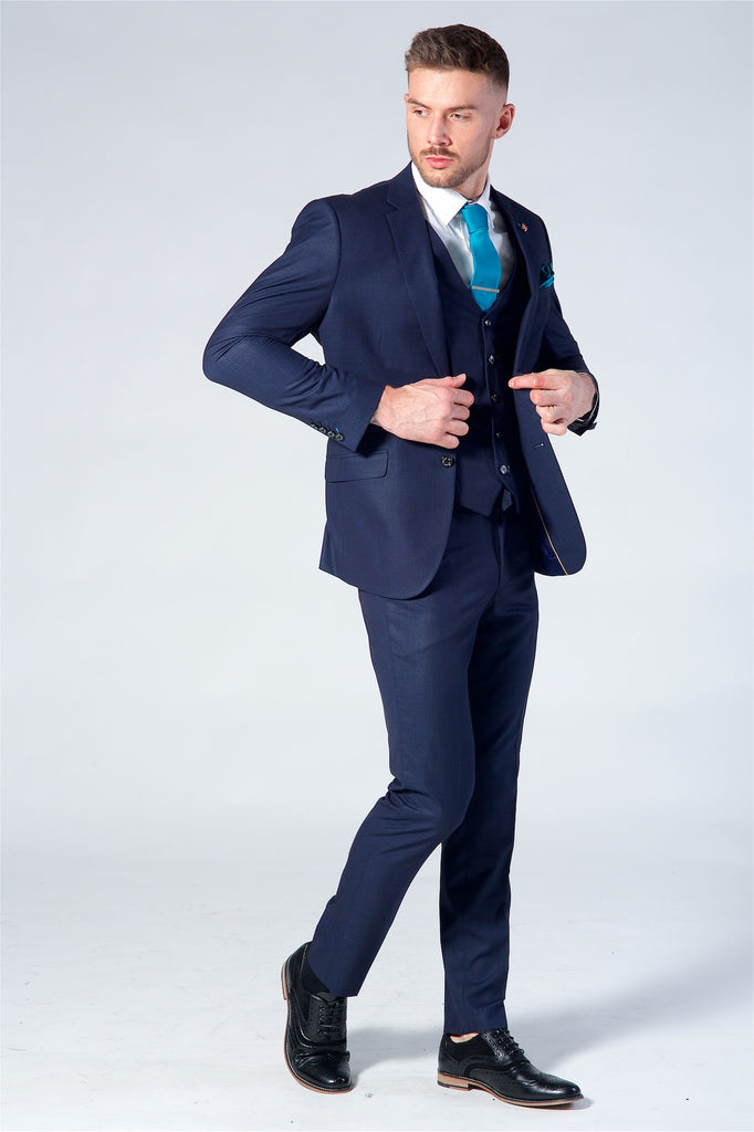 Cavani Seeba Navy Check Three Piece Suit