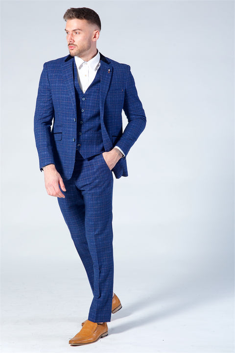 Cavani Albert Kaiser Blue Tweed Three Piece Suit