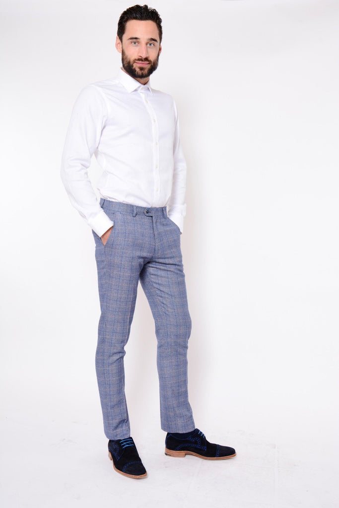 Marc Darcy Hilton Blue Tweed Trousers